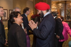 Karimah Es Sabar discusses the new Quark Global Health Sciences Venture Fund with the Honourable Navdeep Bains, Minister of Innovation, Science and Economic Development, at a November NRC meeting in Ottawa