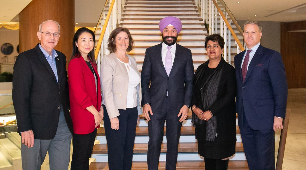 Alan Winter, B.C. Innovation Commissioner Kathryn Hayashi, CEO of Triumf Lesley Esford, CEO of LSBC Karimah Es Sabar, CEO of Quark Venture Inc Gordon McCauley, CEO of CDRD Navdeep Singh Bains Minister of Innovation, Science and Economic Development